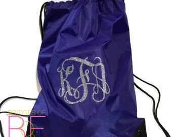 Glitter Monogrammed Drawstring Backpack