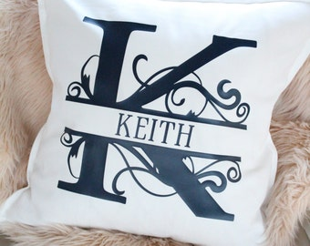 Monogrammed Canvas Pillow and Insert