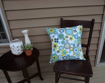 """Aqua and Gray Floral Pillow Cover, 18"""" square, Premier Print Geometric Print, Envelope Closure, Instant Room Makeover Look"""