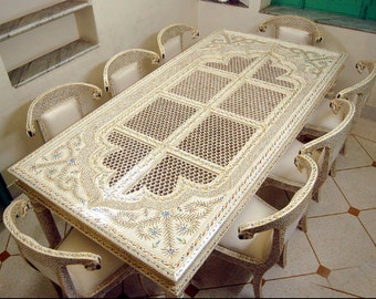 Bone Inlay Antique Dining Table , Dining Table , Hand Made Dining Table