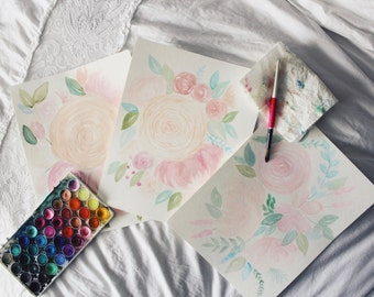Handmade Watercolor Floral Set of Three 11x14