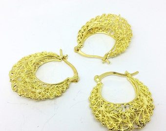 10pcs Large Open Hollow Spacer Hollow Hoop Earrings Raw Brass 30mm