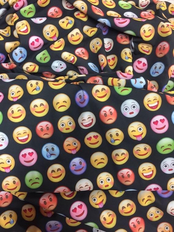 Emoji spandex fabric black background from foundyourfabric for Emoji fabric