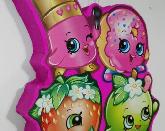 Shopkins pinata, ready to ship, big pinata , donut pinata, lipstick piñata, strawberry pinata