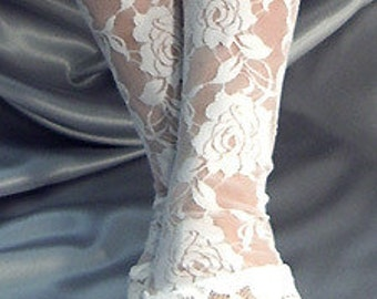 XX Long white lace trim fingerless gloves arm warmers