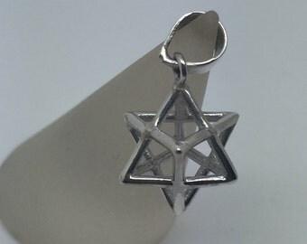 silver merkaba pendant,merkaba pendant,merkaba necklace,3d merkaba ,merkaba jewelry,protective pendant,star of david pendant,boho chic