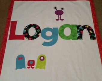 Monster baby quilt, personalized name quilt, toddler, baby, shower gift, birthday present