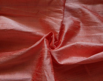 Pure Silk Fabric, Pure Dupioni Silk Fabric, Silk Fabric, Indian Silk Fabric, Salmon Pink Silk Fabric