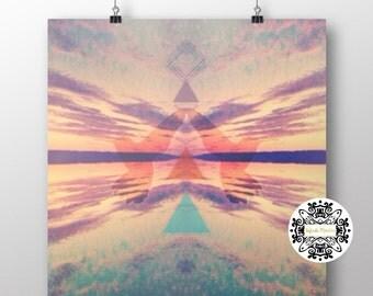 "Art Print-""Boho Sky"".Square Giclee Matte Photo Print.Fine art print. Sunset. Photography art. Sacred Geometry. Doves."