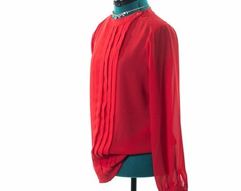 Red Long Sleeved Blouse with Pleats