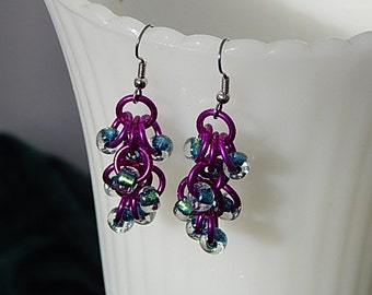 Colorful shaggy loops chain maille earrings