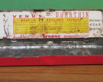 Vintage Shabby Venus Durathin Pencil Box - Old Tin - Great Design