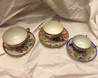 Lot of 3 Handpainted Japanese cup and saucers Japan