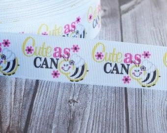 """Bumble bee ribbon - Cute as can be - 1"""" bee ribbon - 3 or 5 yards - Lanyard ribbon - Key fob ribbon - DIY hair bows - DIY bee clips - ribbon"""