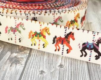 Carousel ribbon - Horse ribbon - I love horses - DIY horse bow - 1 inch ribbon - Hair bow DIY - Craft supplies - Pretty supplies - Grosgrain