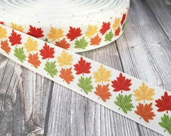 Autumn leaves - Red yellow orange - I love fall - Seasons greetings  - Fall leaves ribbon - Thanksgiving ribbon - Season change ribbon -