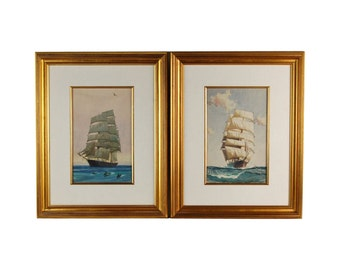 Pair Vintage Gordon Grant Original Watercolor paintings Tall Ships at Sea w Dolphins