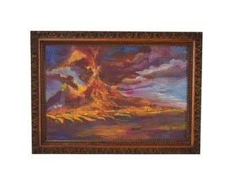 19th Century Original Gouache Painting Eruption of Vesuvius