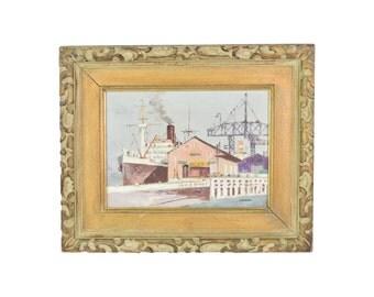 Mid-Century Impressionist Oil Painting Industrial Wharf Scene by Shigeo Wakaishi