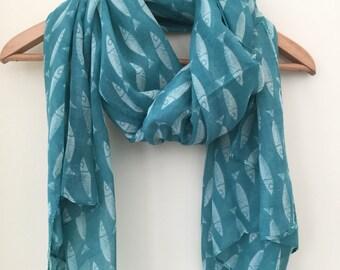 Women's green fish scarf, women's gift, birthday gift, Beachwear, beach scarf, shawl