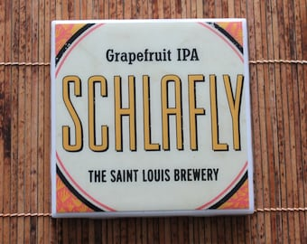 Schlafly Grapefruit IPA Ceramic Craft Beer Coaster from Recycled 4 pk. Holder. Beer Coasters. Beer gifts Drink Coaster