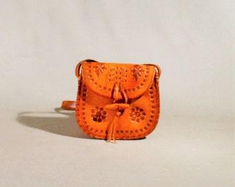 Vintage Cognac Colored Leather Wallet, Coin Pouch, Festival Bag, Mini Bag, Crossbody Sachet