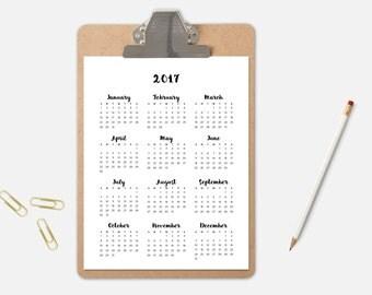 2017 Wall Calendar, Clipboard Calendar, 2017 Calendars, Typographic Calendar, 2017 Year Calendar, Wall Calendar, 2017 Organizer, Calendar