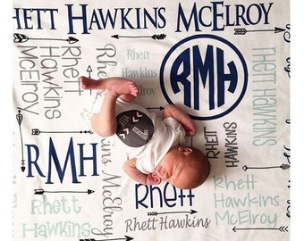 Personalized Baby Blanket Monogram Swaddle Receiving Blanket Custom Blanket Monogrammed Name Baby Shower Gift