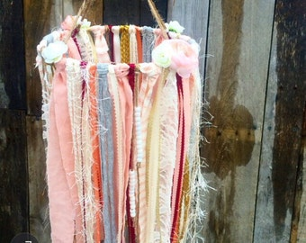 Boho Baby Mobile | Fabric and Ribbon Vintage Mobile