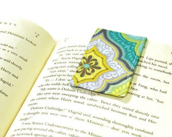 Magnetic Bookmark - Aqua and Lime Green - Gift for Book Lover - Bookish Gift - Book Worm - Unique Bookmarks - Librarian - Graduation Gift