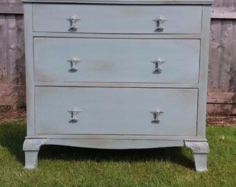 Delightful! Vintage Three Drawer Chest - Distressed Waxed Finish