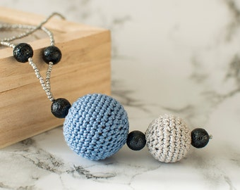 Crochet beads jewelry, crochet bijouterie, crochet necklace, grey blue crocheted necklace, gift for her