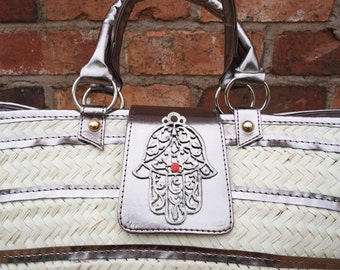 Koffa / Large Straw bag with silver trim