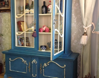 French Shabby Chic Bookcase Display Drinks Cabinet Annie Sloan Chalk Painted Furniture Blue