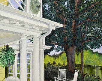 "Original Artwork -""Harmon's Porch"" (16"" x 20"" Canvas Print) From Original Oil Painting"