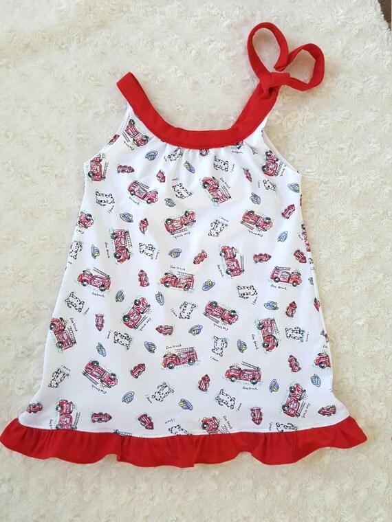 Summer dress Firetruck- Dalmatian  girls, baby girls, toddler