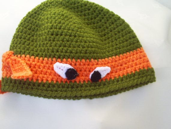 Knitting Pattern Turtle Hat : Items similar to Ninja Turtle hat , crochet boys hat ,animal hat , knit cable...