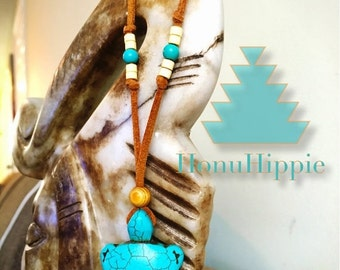 Native american inspired Turquoise Turtle necklace, Boho Hippie pendant