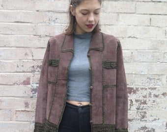 Vintage 70s Style Brown Suede Leather & Crochet Jacket - Size M