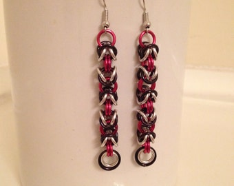 Red, Black, and Silver Byzantine Chainmaille Earrings