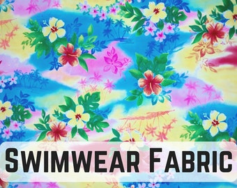 Hawaiian Dream Swimwear fabric! Fun and Dreamy!! Sold by the 1/2 meter!