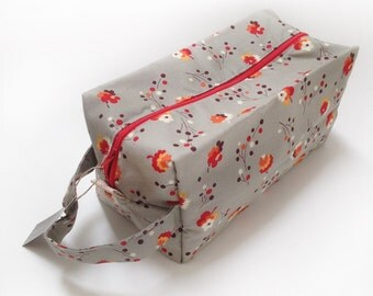 Boxy Bag, Knitting Project Bag - Grey and Red