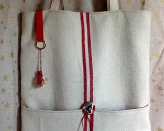shoulder shopper bag in raw cotton