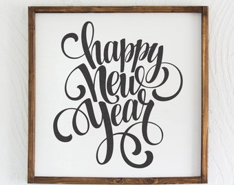 Happy New Year, Christmas Sign, Holiday Sign, Home Decor, Wood Sign