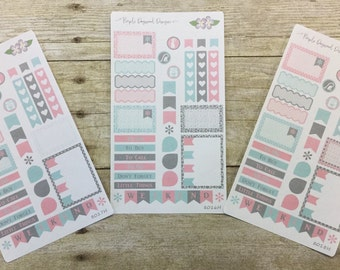 Light Pink, Seafoam and Dark Grey 3 Half Page Vertical Life Planner Stickers (8018H, 8017H, 8016H)