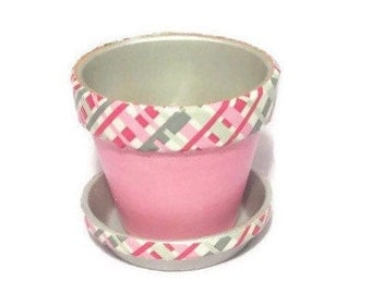 Pink Crosshatch Painted Clay Flower Pot Planter