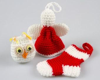 Crochet Pattern Free, Crochet Christmas Ornaments, Christmas Tree Ornaments, Crochet Ornament,Christmas Ornaments Pattern,Crochet pdf, P023