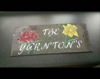 Rose and Dafodil House Sign