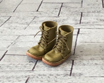 Real leather: miniature lace-up boots [Matcha] (for blythe)