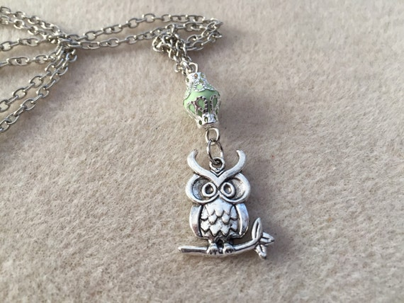 Silver Owl Diffuser Necklace with a Fanciful Face. Aroma Bead for Essential Oils. Choose Aroma Bead Color or Lava Stone. Chain Included.